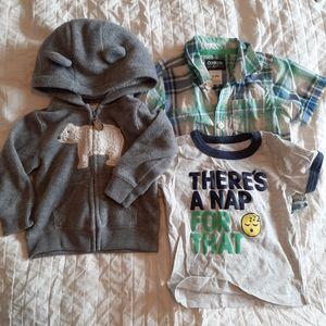 BUNDLE of (3) Osh Kosh 9 month kids tees & hoodie